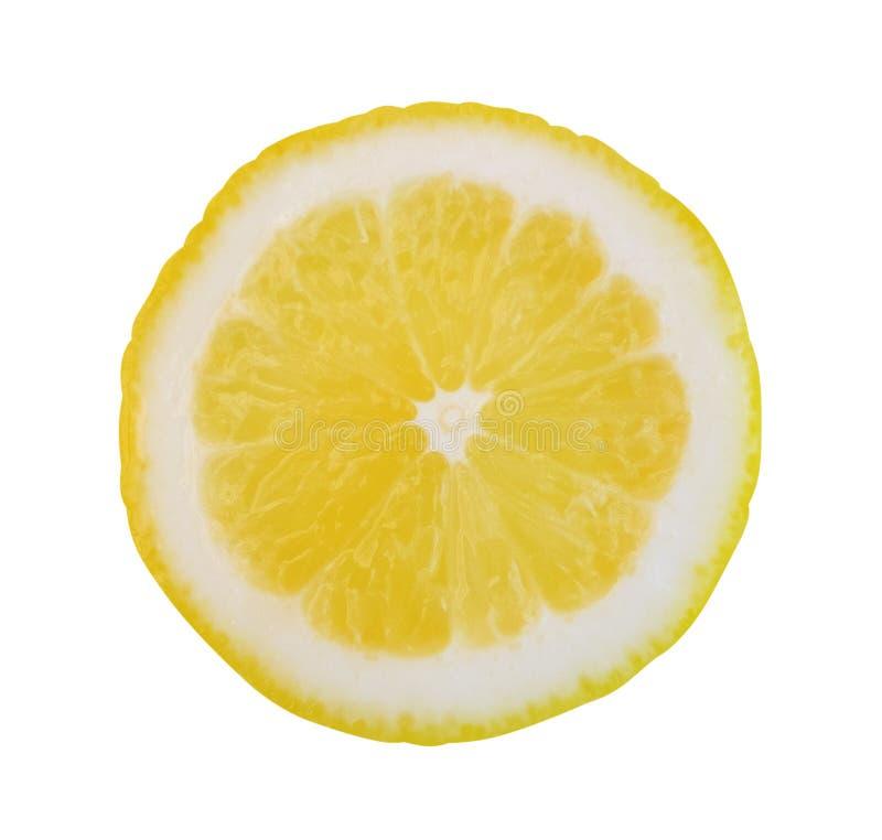 在白色背景隔绝的黄色切片柠檬,裁减路线我 库存图片