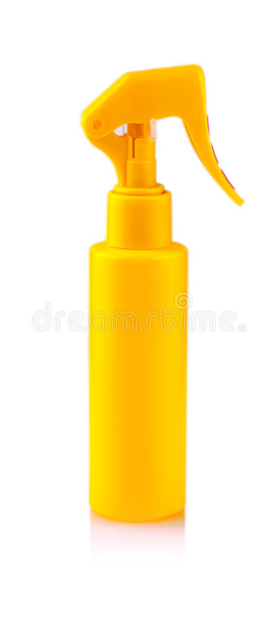 在白色背景隔绝的黄色塑料浪花瓶 图库摄影