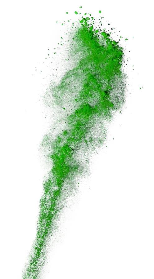 在白色背景隔绝的绿色粉末爆炸 图库摄影