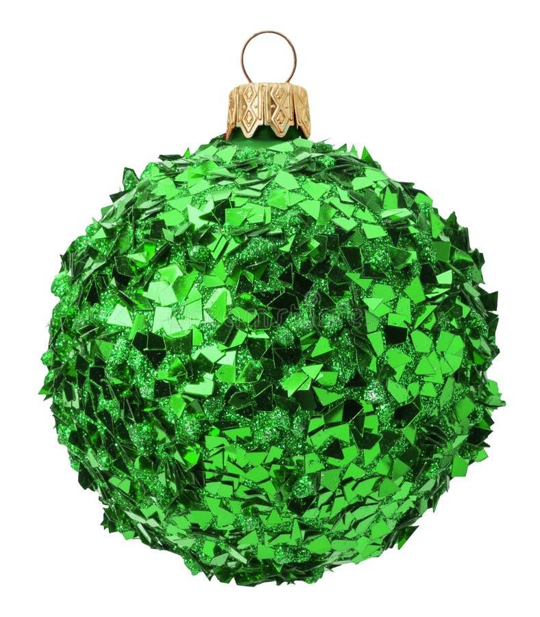 在白色背景隔绝的绿色闪耀的圣诞节球 皇族释放例证
