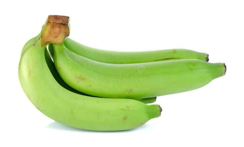 在白色背景隔绝的绿色香蕉 免版税库存图片