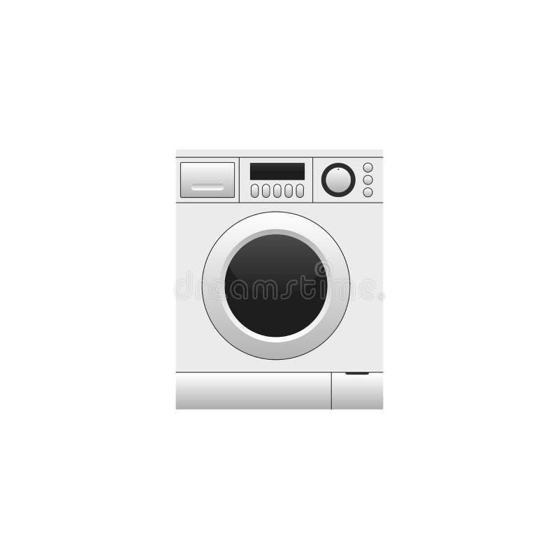 在白色背景隔绝的洗衣机 向量例证