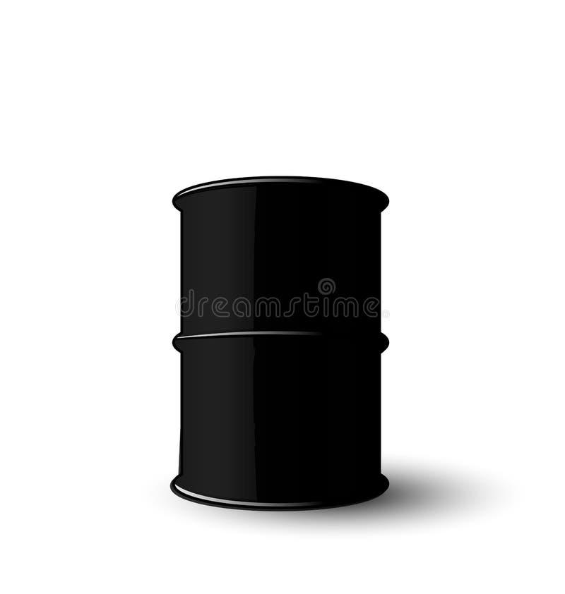 在白色背景隔绝的黑金属油桶 库存例证