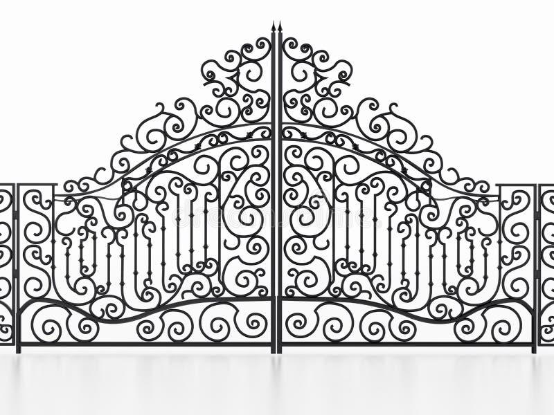在白色背景隔绝的锻铁门 3d例证 皇族释放例证