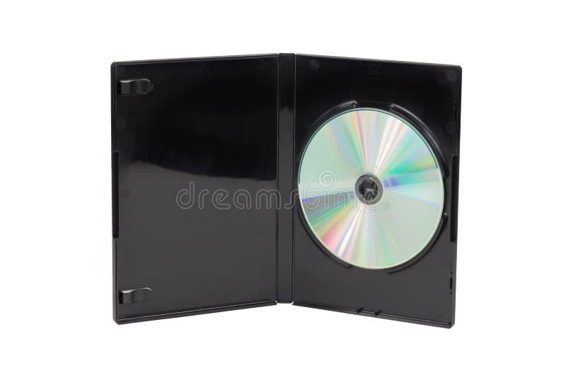 在白色背景隔绝的黑CD/DVD盒 图库摄影