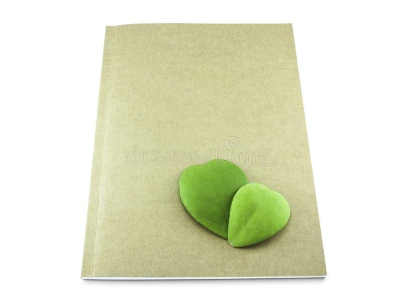 在白色背景隔绝的eco书的心脏叶子 免版税库存照片