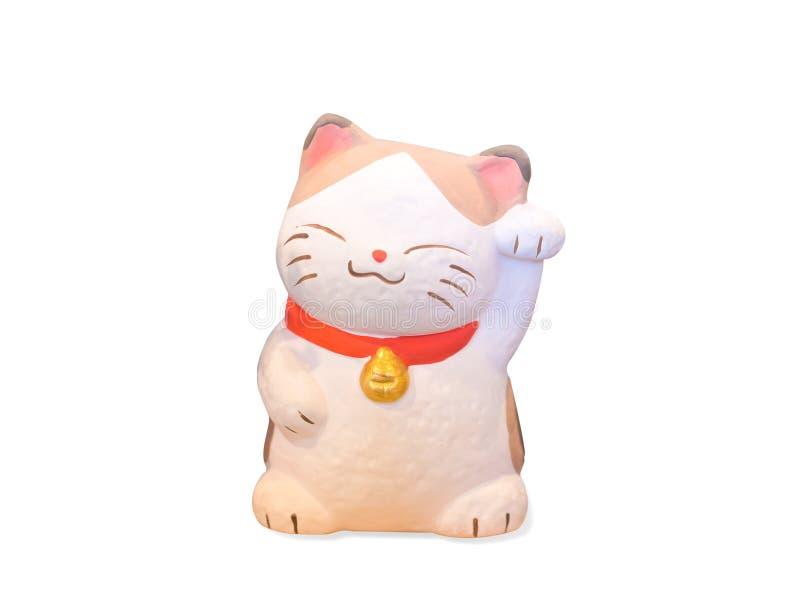 在白色背景隔绝的Maneki Neko猫 免版税库存照片