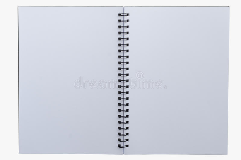 在白色背景隔绝的Wirebound笔记本 库存图片