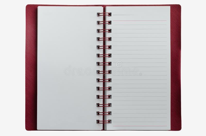 在白色背景隔绝的Wirebound笔记本 图库摄影