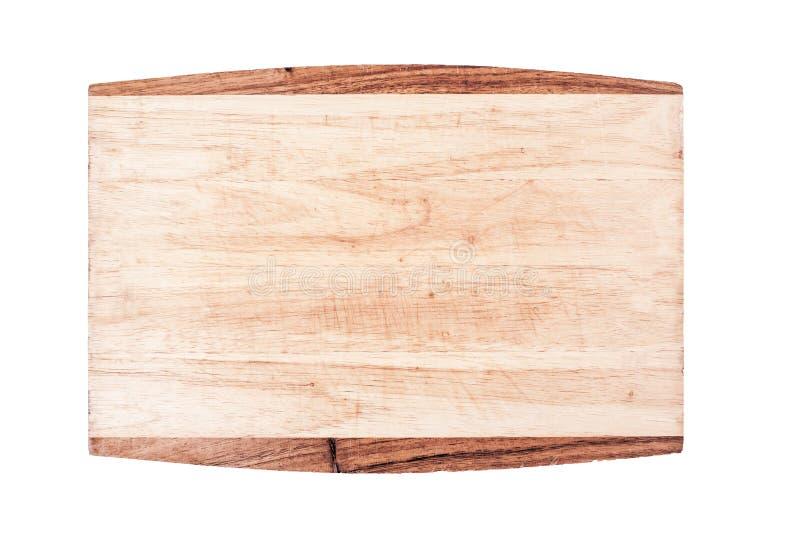 在白色背景顶视图切开的使用的空的木厨房板隔绝的 免版税库存图片