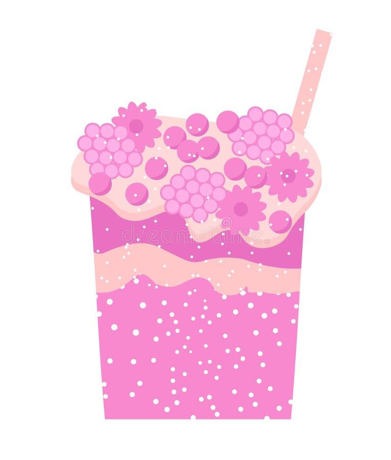 在白色背景饮料新鲜的震动汁液鸡尾酒的桃红色鸡尾酒 蓝莓,樱桃,草莓,在玻璃的无核小葡萄干饮料 Ve 皇族释放例证