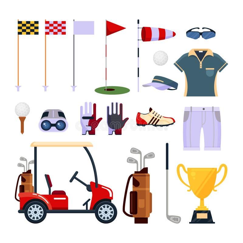 在白色背景高尔夫用品在平的样式的象商标隔绝的套 衣裳和辅助部件打高尔夫球的,体育 库存例证