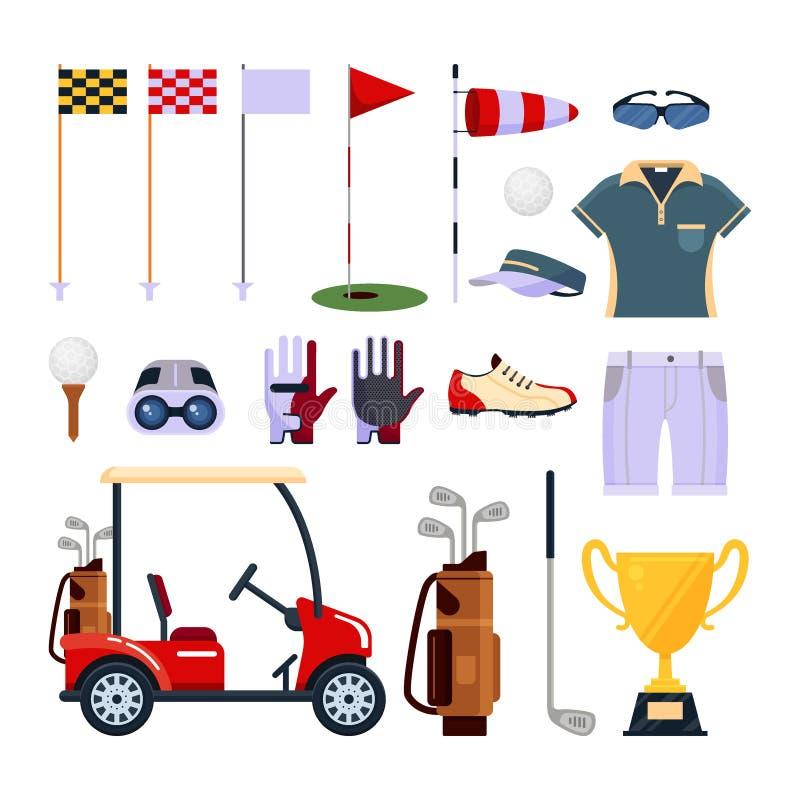 在白色背景高尔夫用品在平的样式的象商标隔绝的套 衣裳和辅助部件打高尔夫球的,体育 皇族释放例证