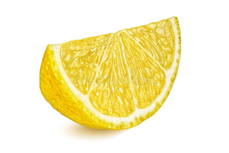 在白色背景黄色柠檬隔绝的切片 库存照片
