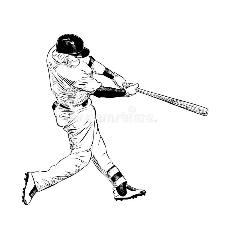 在白色背景黑色的隔绝的棒球选手手拉的剪影  详细的葡萄酒蚀刻样式图画 库存例证