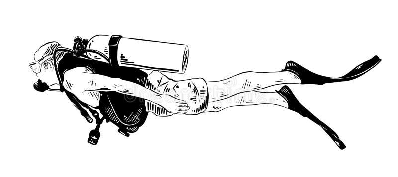 在白色背景黑色的隔绝的潜水者手拉的剪影  详细的葡萄酒蚀刻样式图画 向量例证