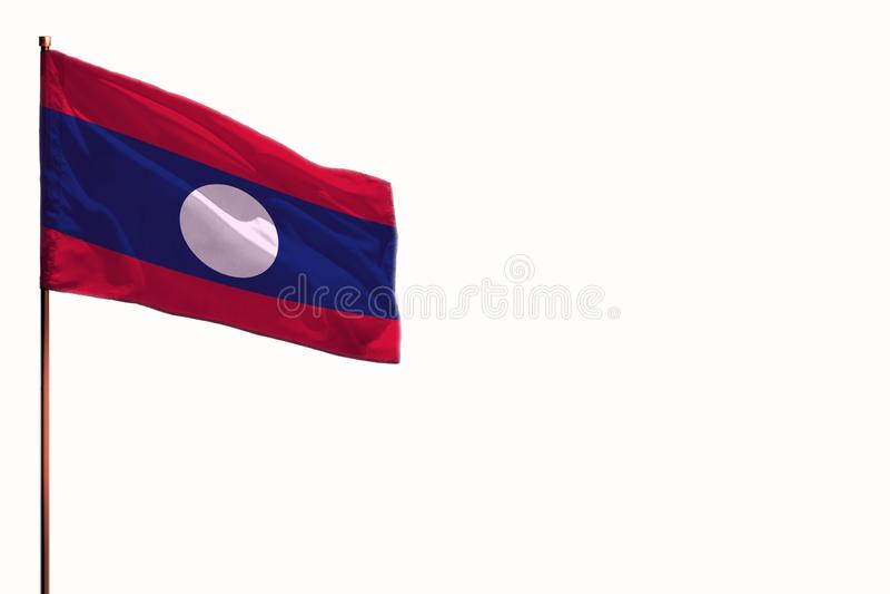 在白色背景,与空间的大模型的振翼的老挝人人民主共和国被隔绝的旗子您的内容的 免版税库存照片