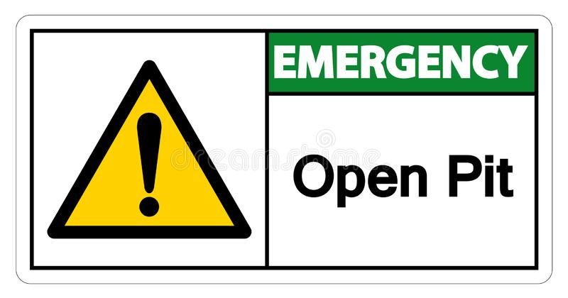在白色背景,传染媒介例证的紧急露天开采矿标志标志孤立 库存例证