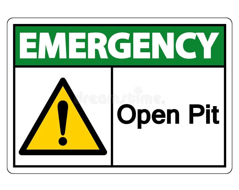 在白色背景,传染媒介例证的紧急露天开采矿标志标志孤立 向量例证