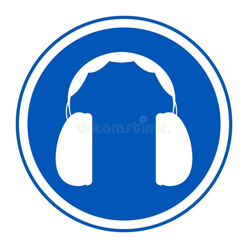 在白色背景,传染媒介例证EPS的标志耳朵保护需要的标志孤立 10 库存例证