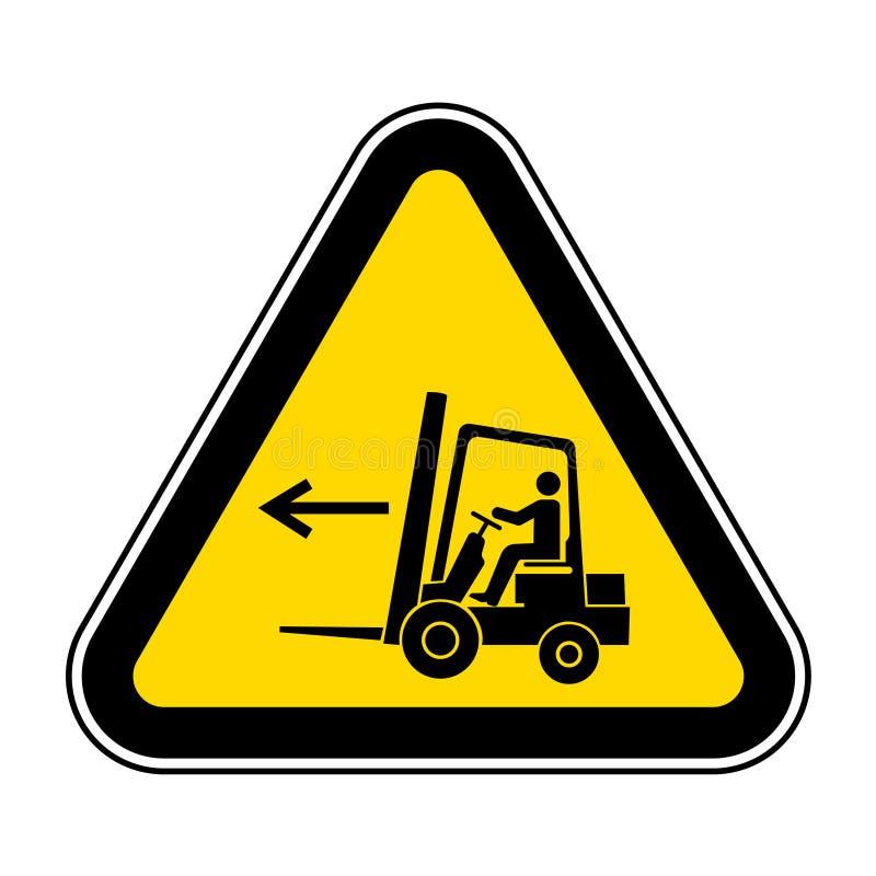 在白色背景,传染媒介例证EPS的铲车点左标志标志孤立 10 库存例证