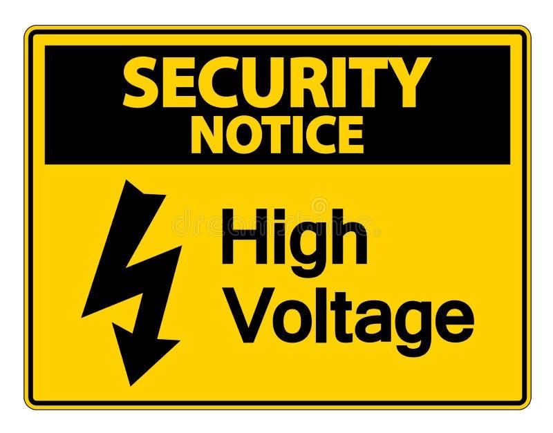 在白色背景,传染媒介llustration的安全通知高压标志 向量例证