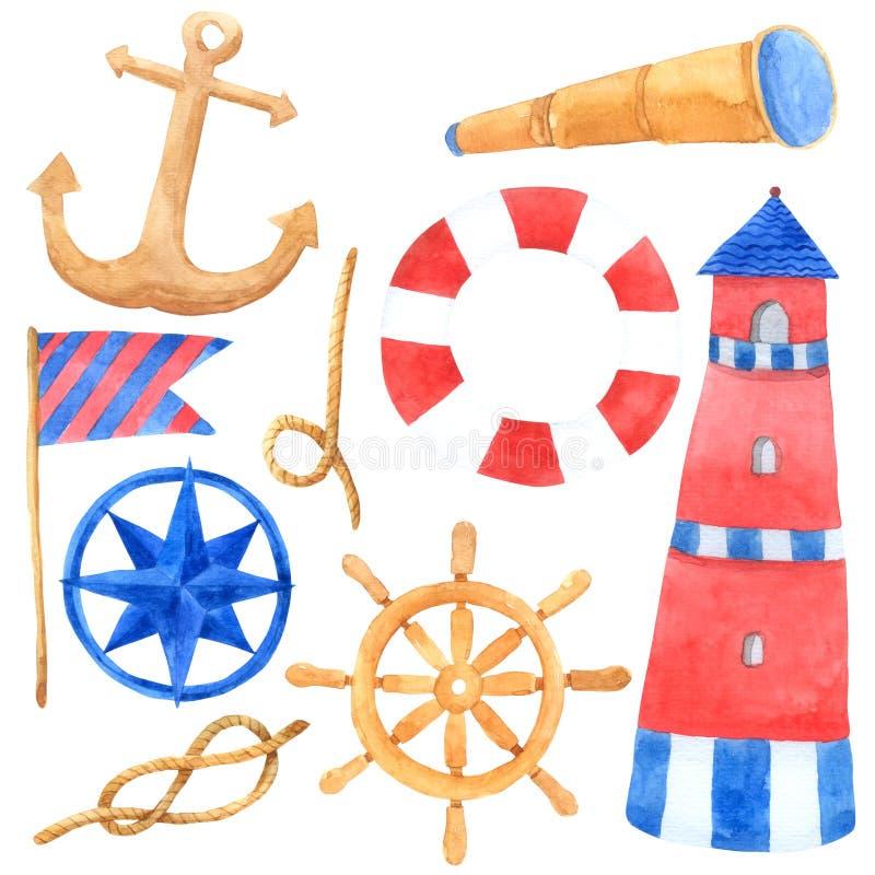 在白色背景,动画片手拉为孩子,贺卡,案件的海洋船舶旅行水彩收藏设计, 向量例证