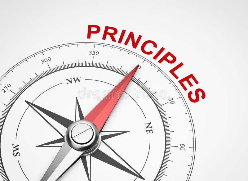 在白色背景,原则概念的指南针 皇族释放例证