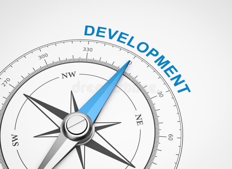 在白色背景,发展概念的指南针 皇族释放例证