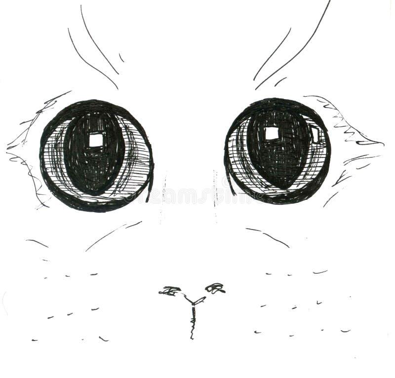 在白色背景,图表的猫眼,手拉 免版税图库摄影