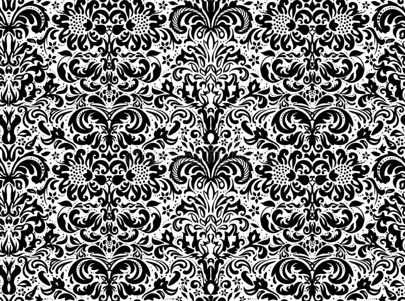 在白色背景,墙纸的无缝的黑装饰品 在背景的花饰 皇族释放例证