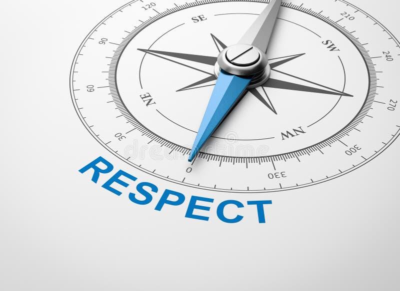 在白色背景,尊敬概念的指南针 皇族释放例证