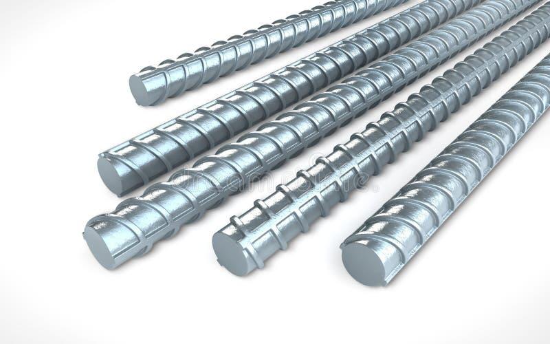 在白色背景,建筑ind的钢增强钢筋 库存例证