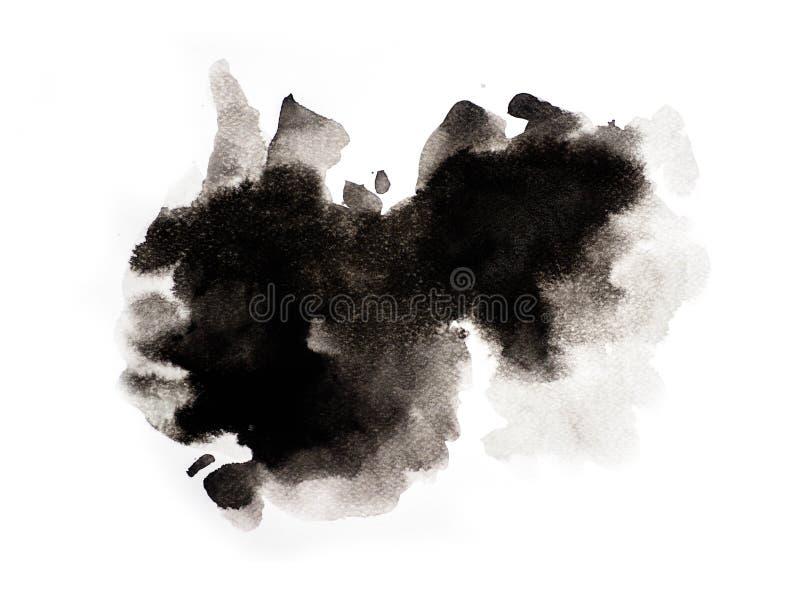 在白色背景,抽象水彩背景,例证的抽象黑水彩 向量例证