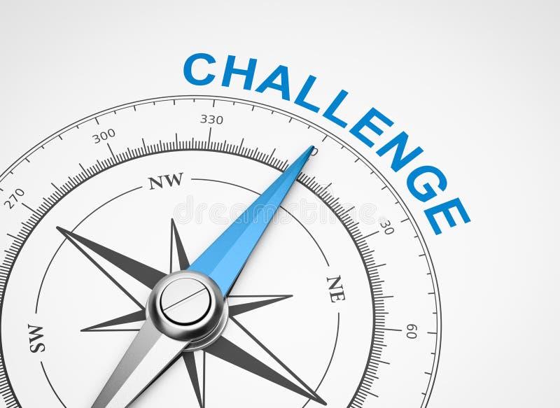 在白色背景,挑战概念的指南针 皇族释放例证