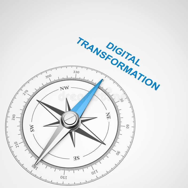 在白色背景,数字变革概念的指南针 皇族释放例证