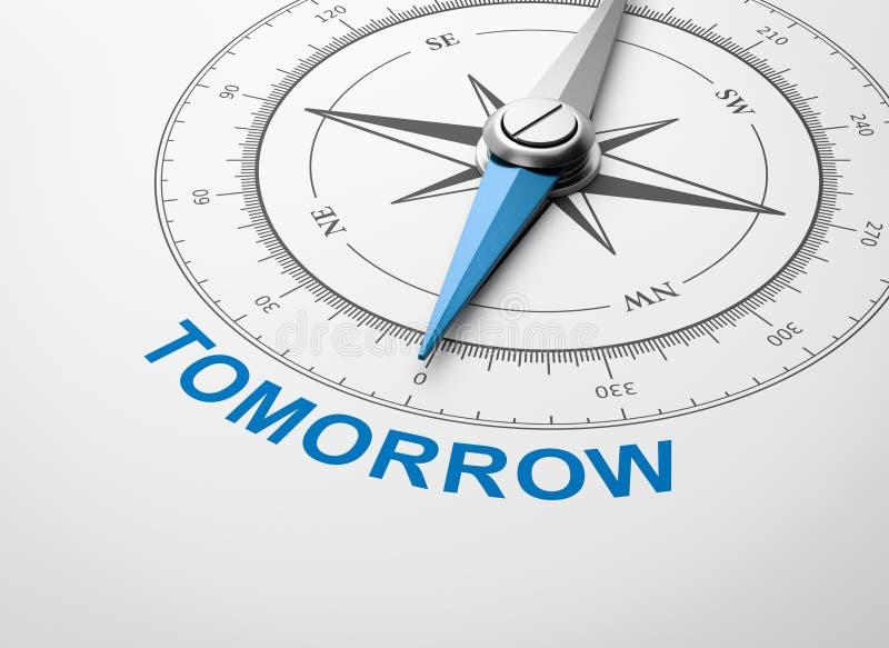 在白色背景,明天概念的指南针 皇族释放例证