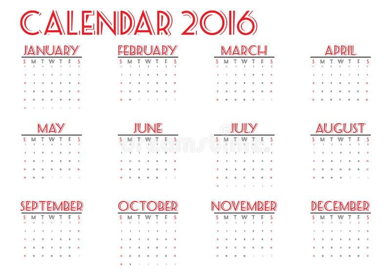 在白色背景,星期开始星期天,愉快的颜色,例证的日历2016新年 向量例证
