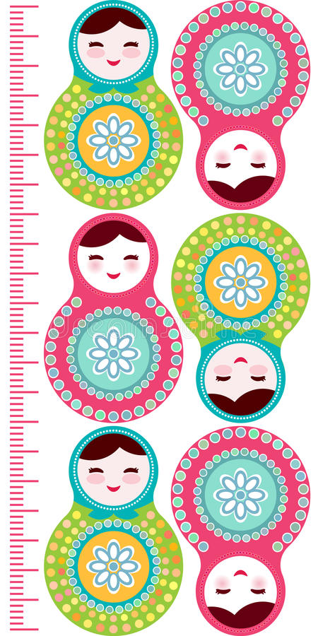 在白色背景,桃红色和蓝色的俄国玩偶matryoshka上色儿童高度米墙壁贴纸,孩子测量,成长曲线图 皇族释放例证