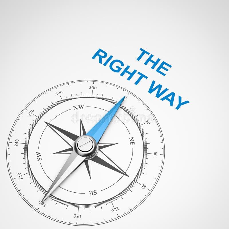在白色背景,正确概念的指南针 库存例证