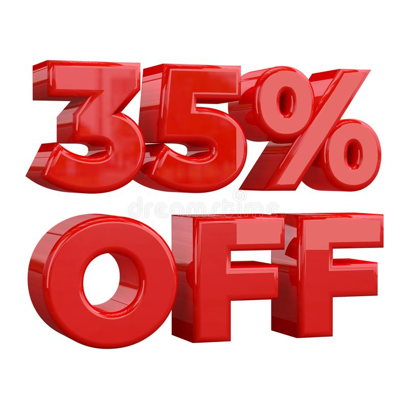 35%在白色背景,特价,巨大提议,销售 增进广告的横幅,标签的百分之三十五和 向量例证