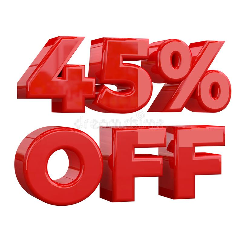 45%在白色背景,特价,巨大提议,销售 增进广告的横幅,标签的百分之四十五和 皇族释放例证