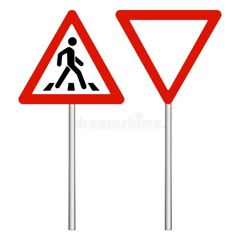 在白色背景,红色三角的警告路标 做方式 行人交叉路标志,步行行人穿越道标志 传染媒介illustr 库存例证
