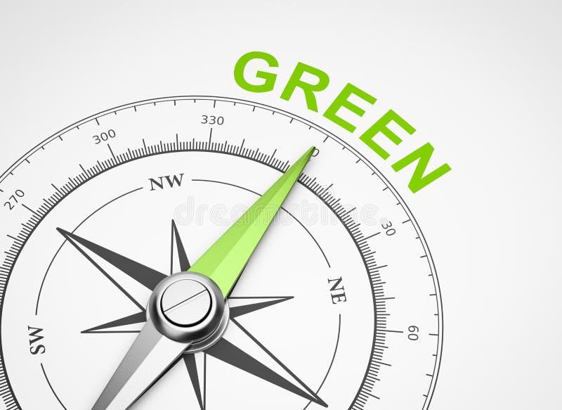 在白色背景,绿色概念的指南针 皇族释放例证