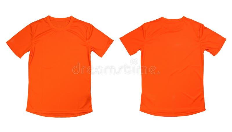 在白色背景,被隔绝的橙色runn的橙色连续T恤杉 免版税库存照片