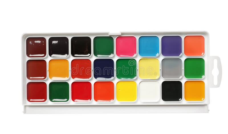 在白色背景,顶视图的塑料水彩调色板 免版税图库摄影