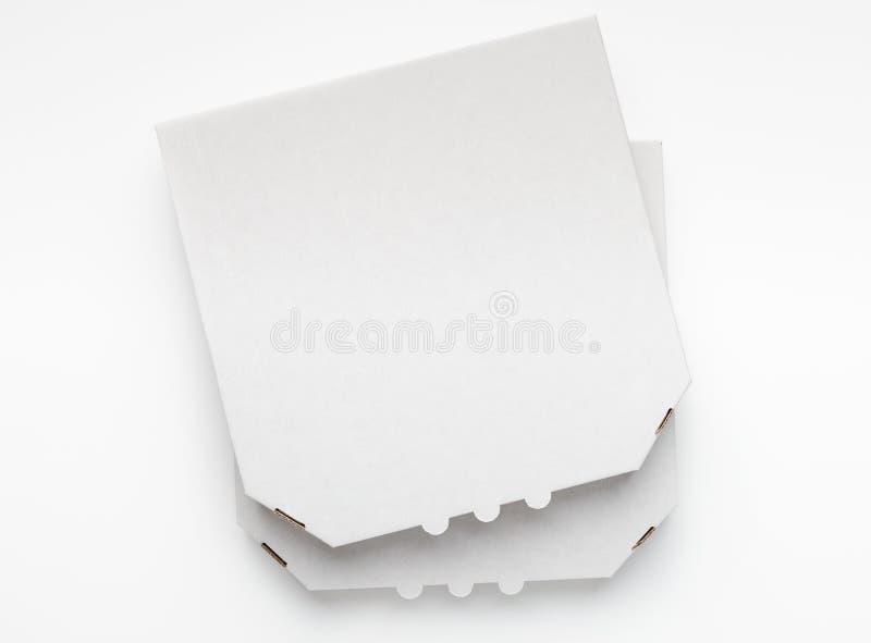 在白色背景,顶视图的空白的比萨箱子 库存图片