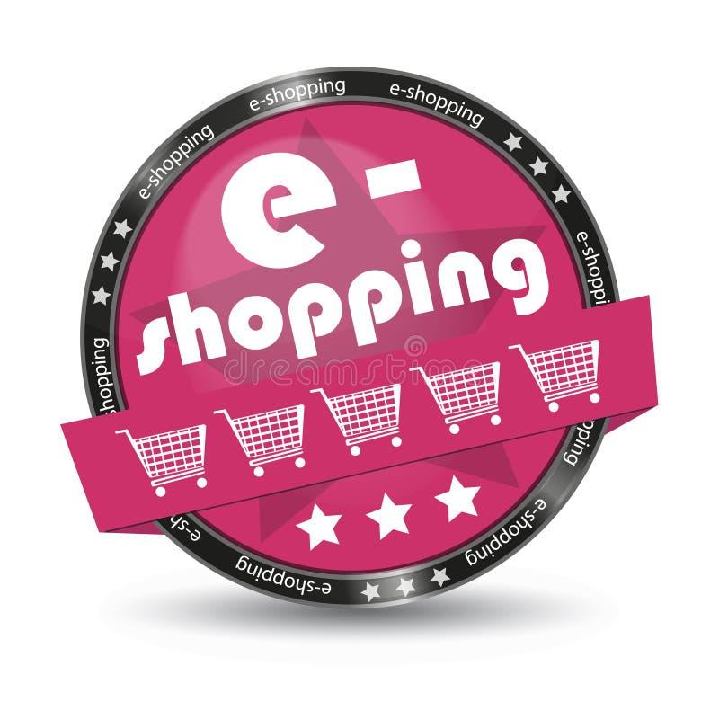 在白色背景-传染媒介例证-隔绝的E购物推车光滑的按钮 库存例证