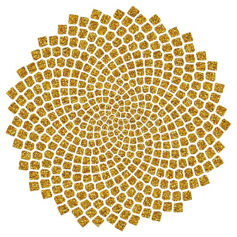 向日葵种子-金黄比率-金黄螺旋-斐波那奇螺旋 免版税库存照片