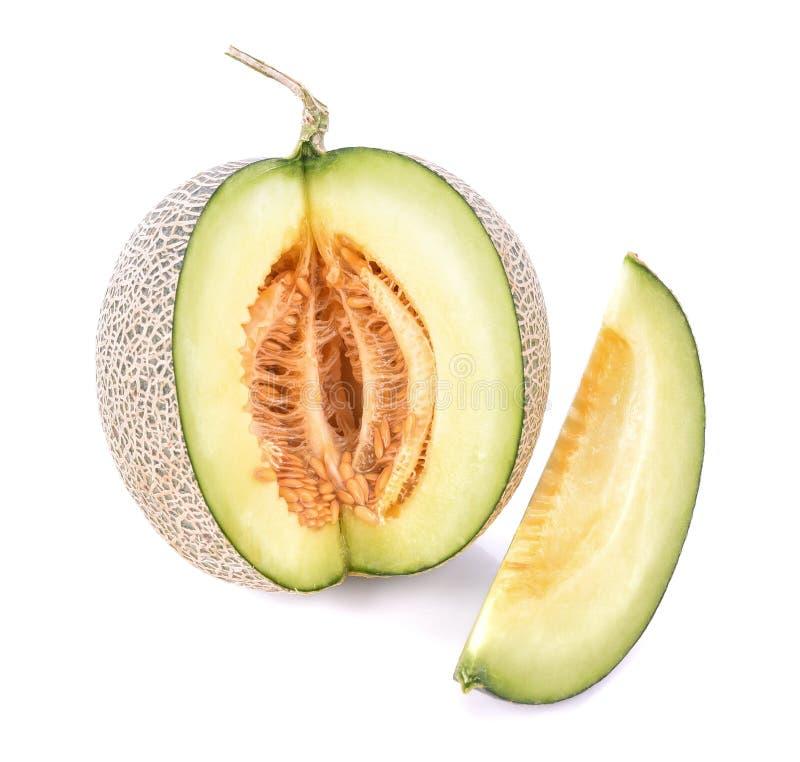 在白色背景(截去的Pa的成熟甜瓜瓜孤立 图库摄影